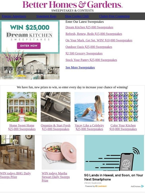 Better Homes and Gardens: Enter to WIN $25,000 for a dream