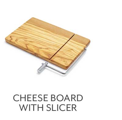Olivewood Cheese Board with Built-In Slicer
