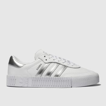 huge discount 40fe2 7560a adidas-sambarose-white-and-silver-trainers