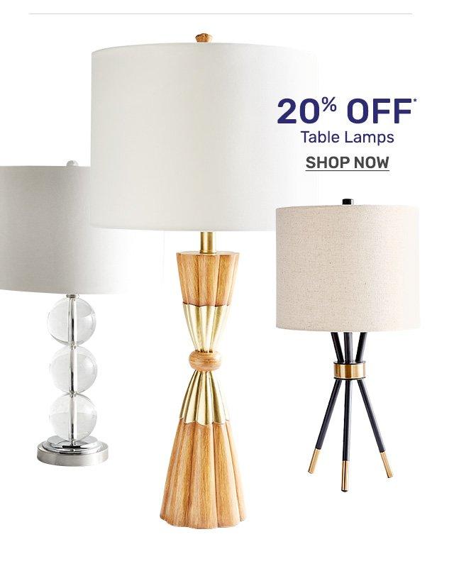 Shop twenty percent off lamps.