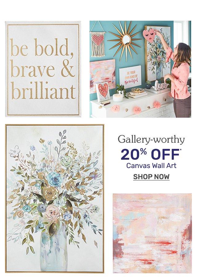 Shop gallery-worthy wall art now twenty percent off.