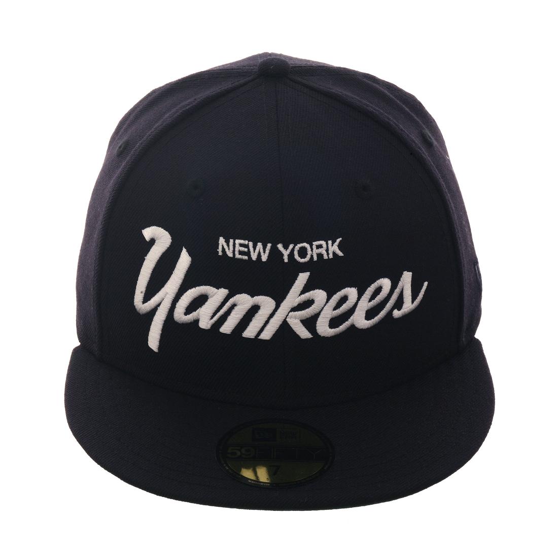 Exclusive New Era 59Fifty New York Yankees Script Hat - Navy 99c7ac7445ed