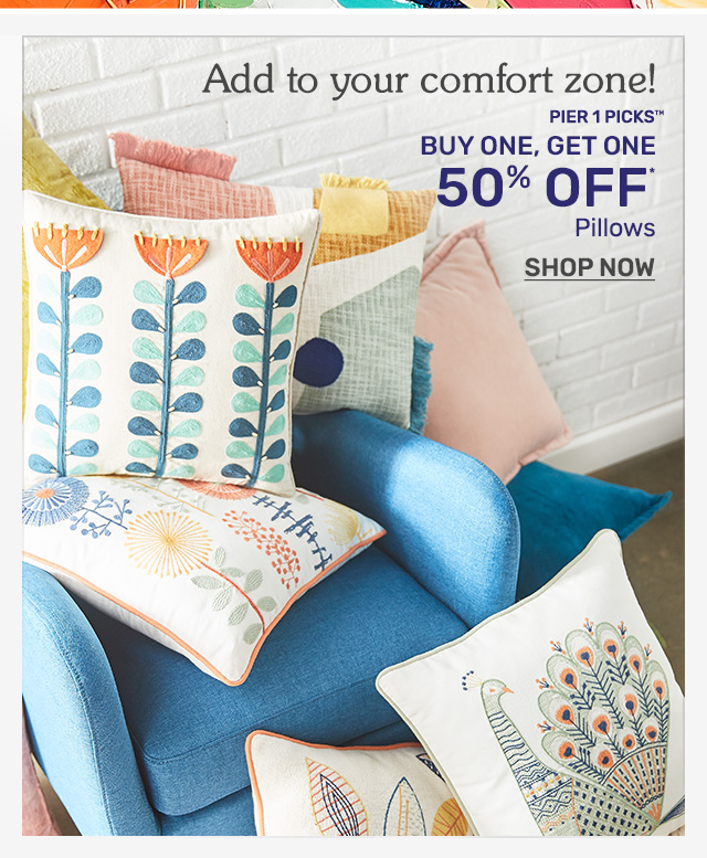 Buy one, get one fifty percent off pillows.