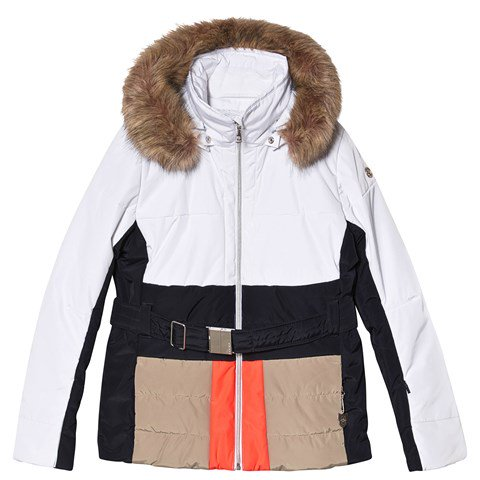 Poivre Blanc White Colourblock Belted Faux Fur Hood Ski Jacket