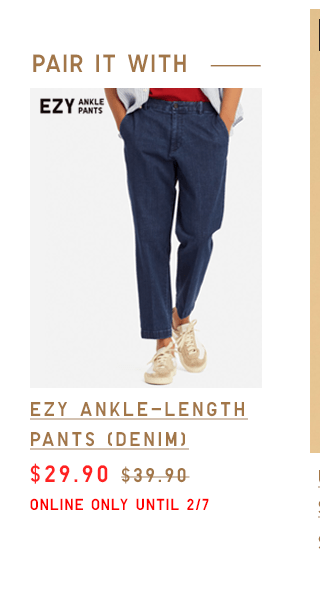 EZY ANKLE-LENGTH PANTS (DENIM) $29.90