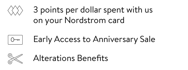 3 points per dollar spent with us on your Nordstrom card - Early Access to Anniversary Sale - Alterations Benefits