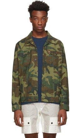 Levi's - Green & Brown Camo Denim Trucker Jacket
