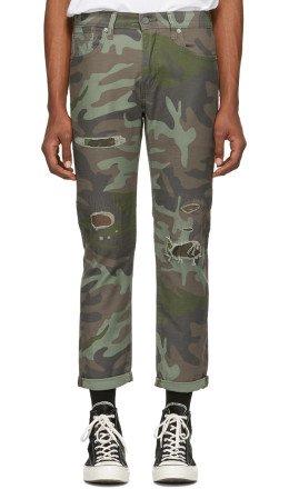 Levi's - Green & Brown Camo Hi-Ball Roll Jeans