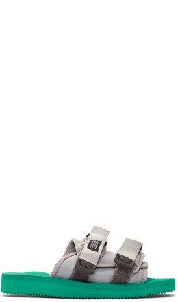 John Elliott - Silver & Green Suicoke Edition MOTO-JEab-F Sandals