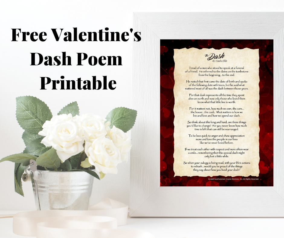 picture relating to Poem the Dash Printable titled Really encourage Kindness: ❤ Totally free Valentines Sprint Poem Printable