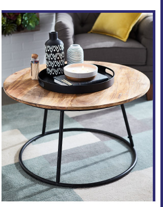 Centric Natural & Black Wood Round Coffee Table
