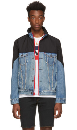 Levi's - Blue & Black Denim Mockneck Trucker Jacket