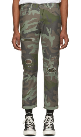 Levi's - Green & Brown Camo Hi-Ball Roll Jeans