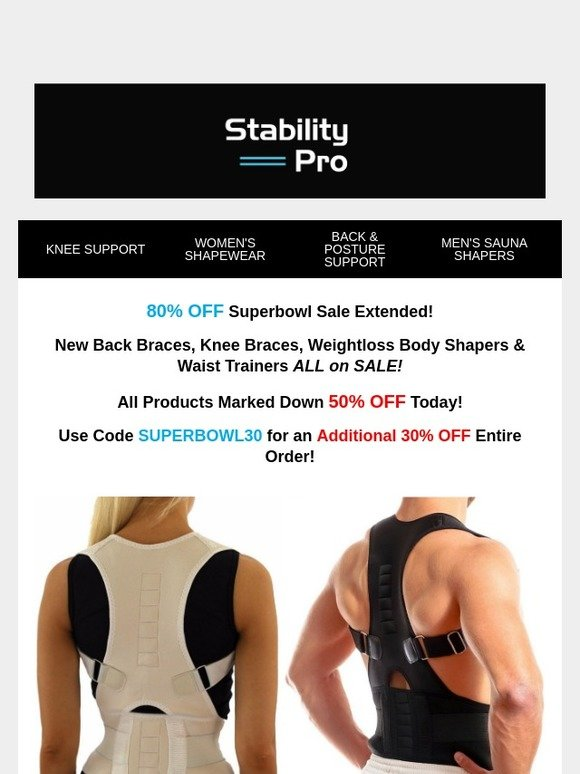 c24ef19f11 StabilityPro: SUPERBOWL 80% OFF Knee & Back Braces, Weightloss Body Shaper  Sale 🕛 Extended 🕛 | Milled