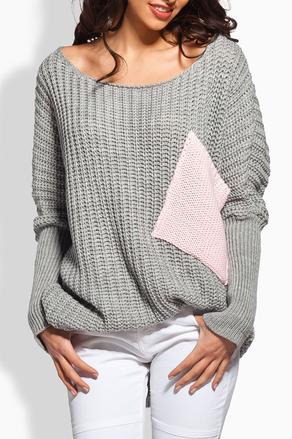 Jenny Sweater in Light Gray and Powder Pink
