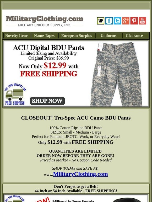Military Uniform Supply: WOW! Only $12 99 + Free Shipping