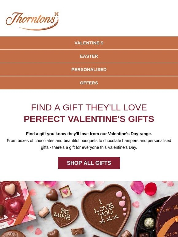 thorntons UK: Find a gift they'll love from our Valentine's range | Milled