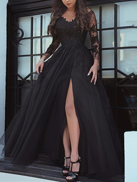 f5790aebc Ericdress A Line Long Sleeve Applique Black Evening Gown With Side Slit