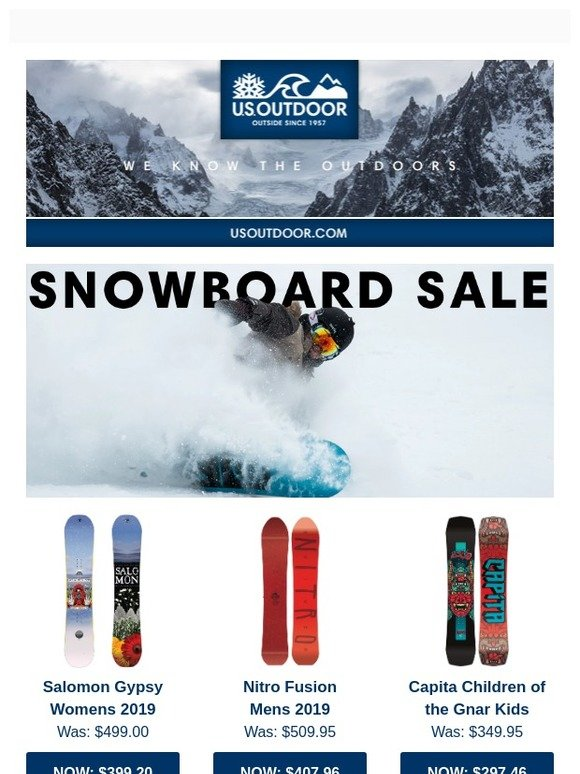US Outdoor Store: Up To 20% Off Snowboards Going on NOW
