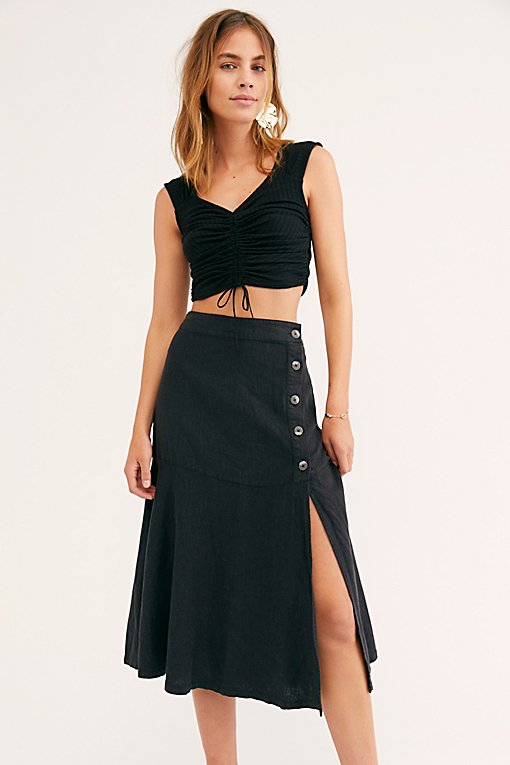 Poppy Flounced Midi Skirt
