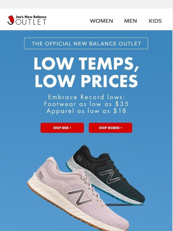 NB Apparel from $18 (sneakers from $35
