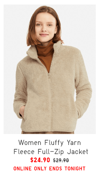 WOMEN FLUFFY YARN FLEECE FULL-ZIP JACKET $24.90