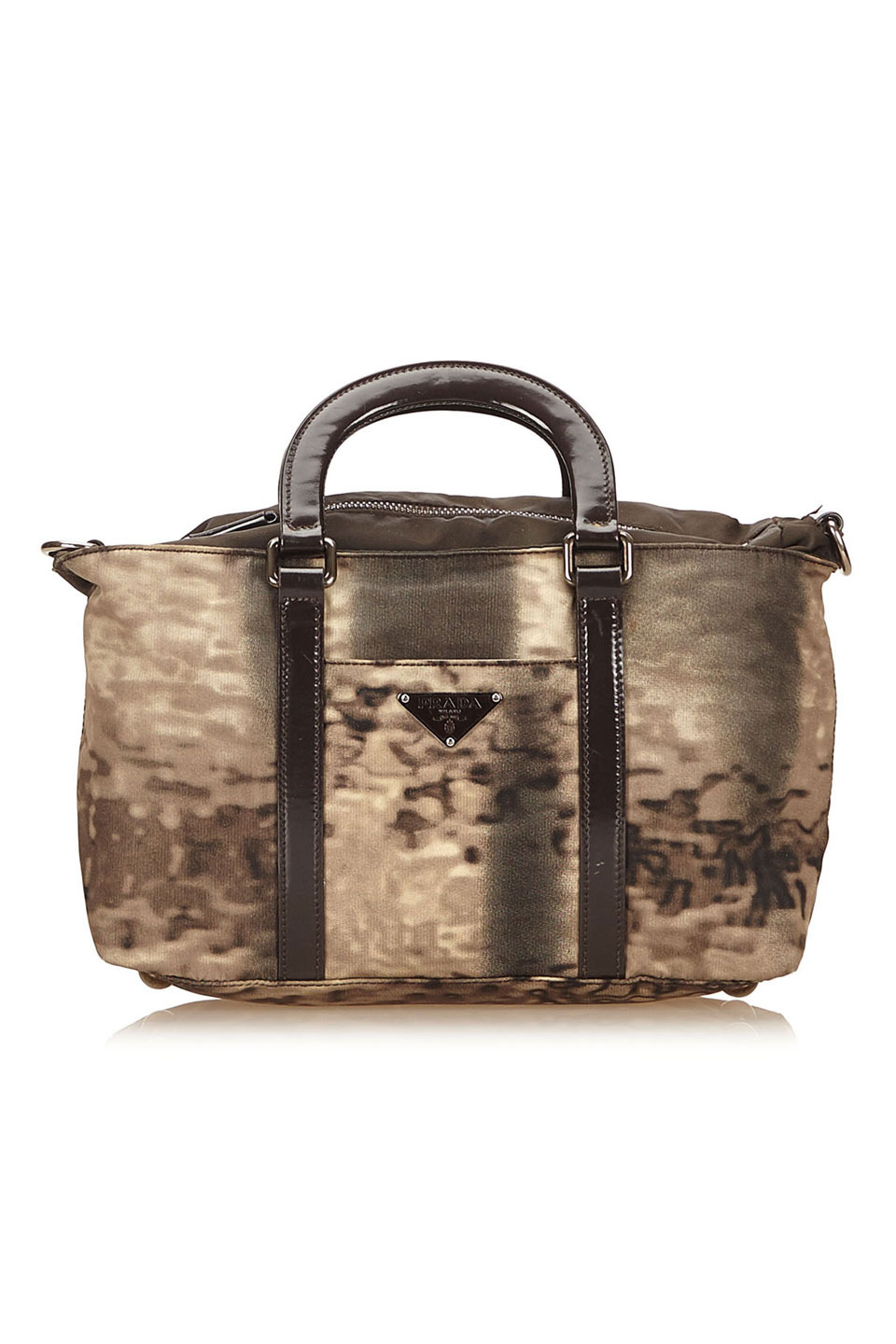 Prada Nylon Handbag in Brown and Dark Brown