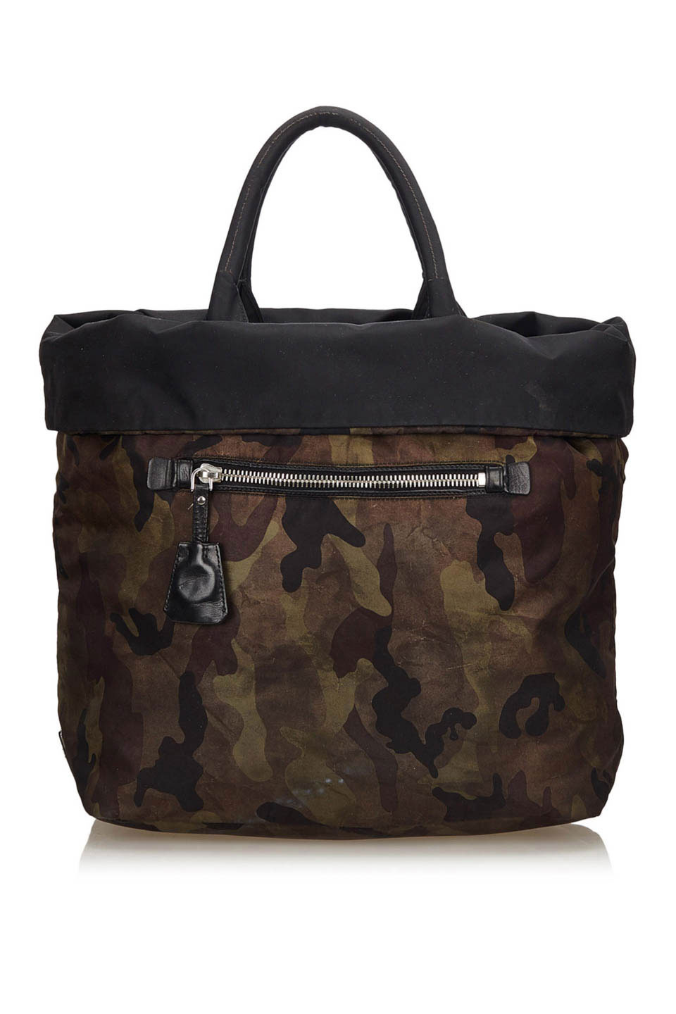 Prada Reversible Camouflage Tote in Brown, Khaki and Multi