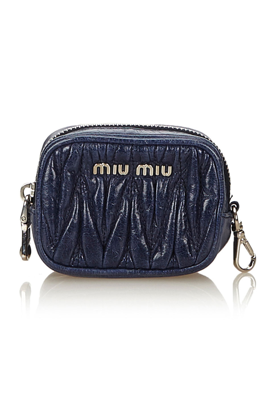 Miu Miu Gathered Leather Coin Pouch in Blue and Navy
