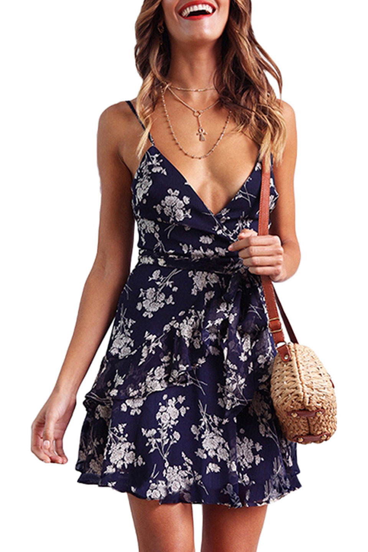 Floral Printed Short Dress in Navy Blue
