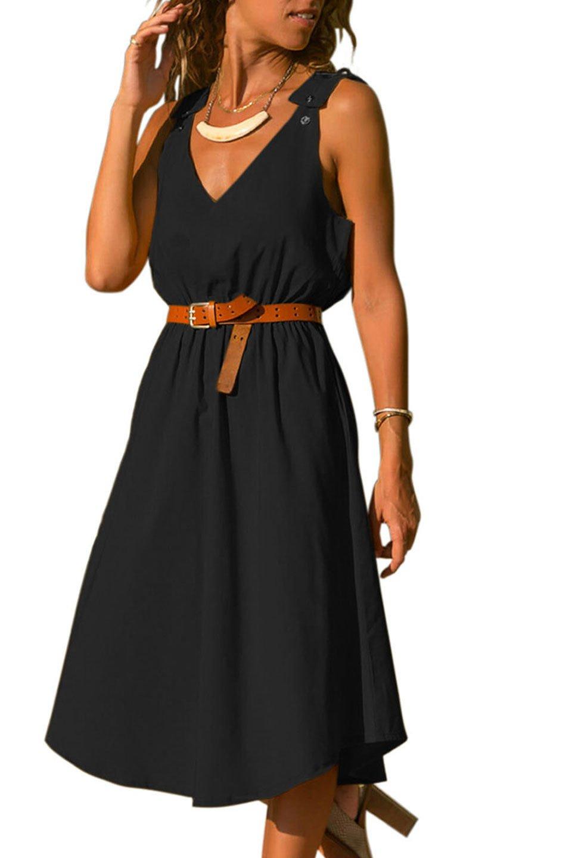 V Neck Classy Sun Dress in Black