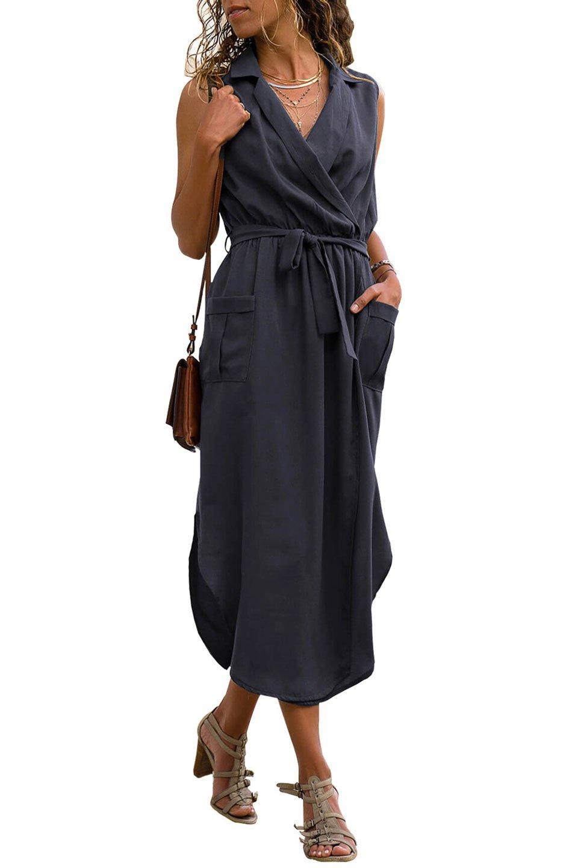 Sleeveless Shirt Long Dress with Pockets in Navy