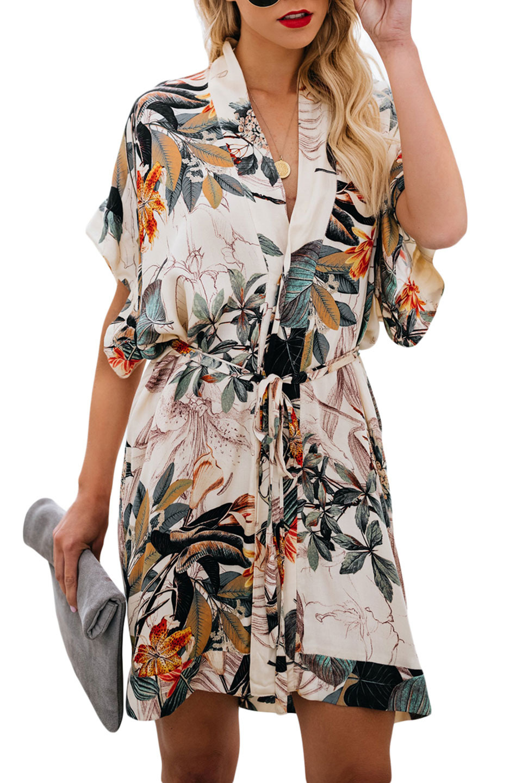 Floral Kimono Dress in Light Beige