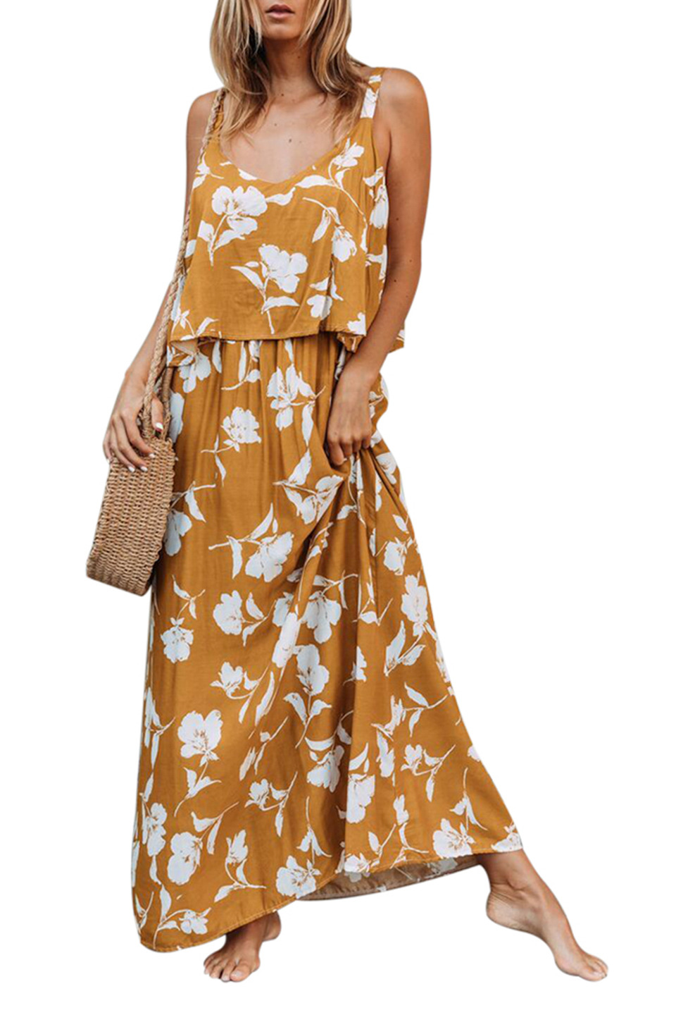 Chic Summer Boho Floral Maxi Dress in Yellow Floral