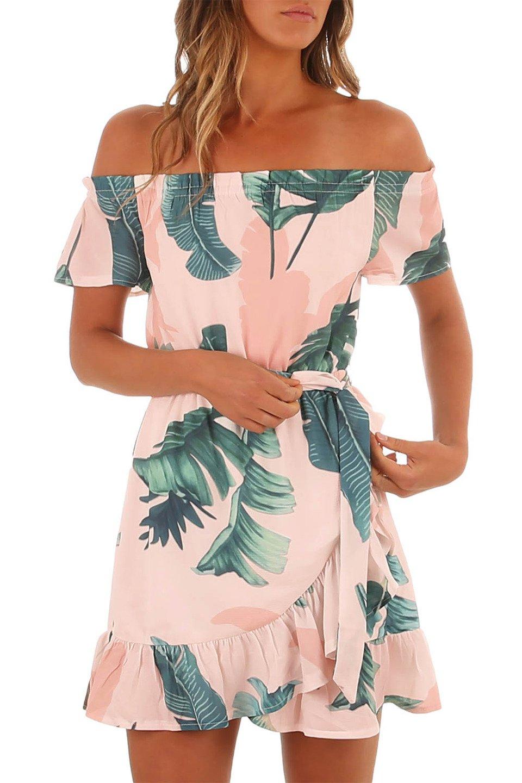 Tropical Leaf Off Shoulder Summer Dress in Pink and Green