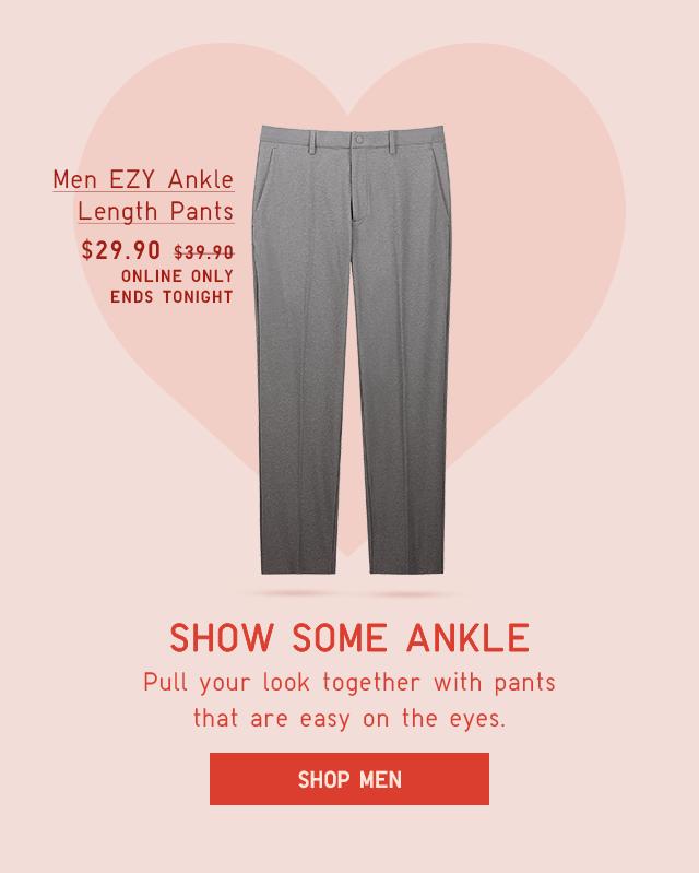 MEN EZY ANKLE LENGTH PANTS $29.90
