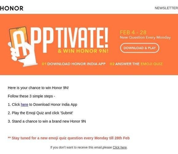 Honor (US): Win Honor 9N in 3 simple steps! | Milled
