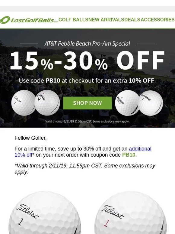 e9c84221e5e335 Lost Golf Balls   Pebble Beach Special  Up to 30% Off + Extra 10% Off on  Your Favorites