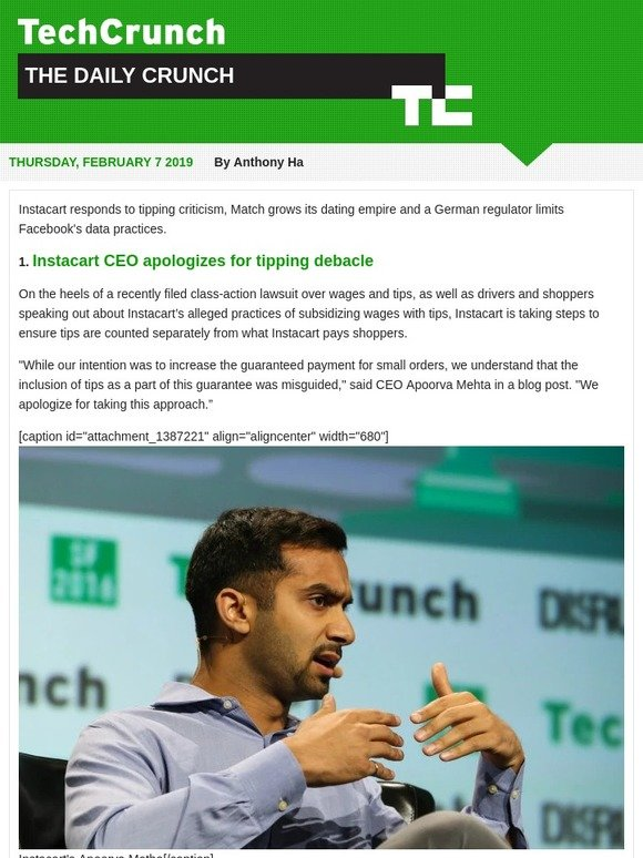 TechCrunch: Instacart CEO apologizes | Milled