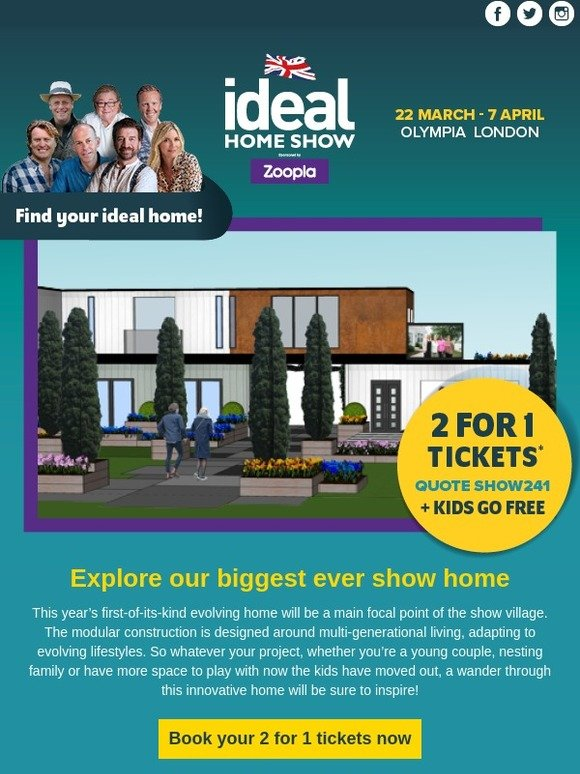 free ideal home show tickets 2019