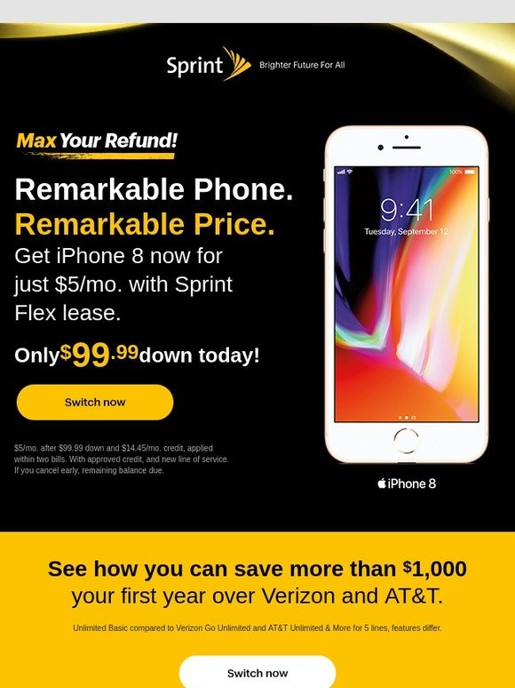 Sprint: Hurry! Get the iPhone 8 for $5/mo  | Milled