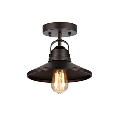 IRONCLAD , Industrial-style 1 Light Rubbed Bronze Semi-flush Ceiling Fixture 9