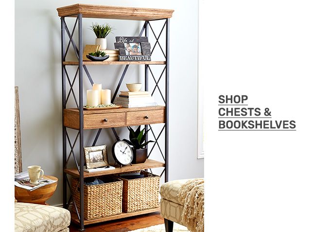 Shop chests and bookshelves.