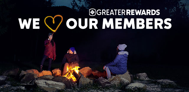 People around a campfire, We Heart Our Members.
