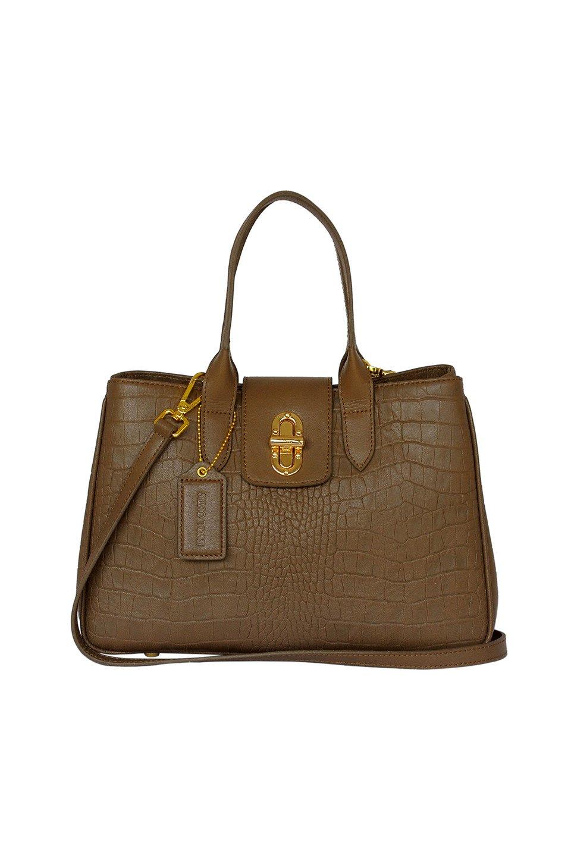 Italian Goat Leather Shoulder Bag in Light Brown