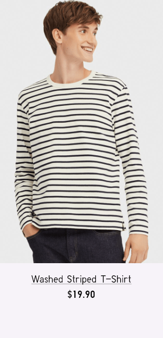 WASHED STRIPED T-SHIRT $19.90