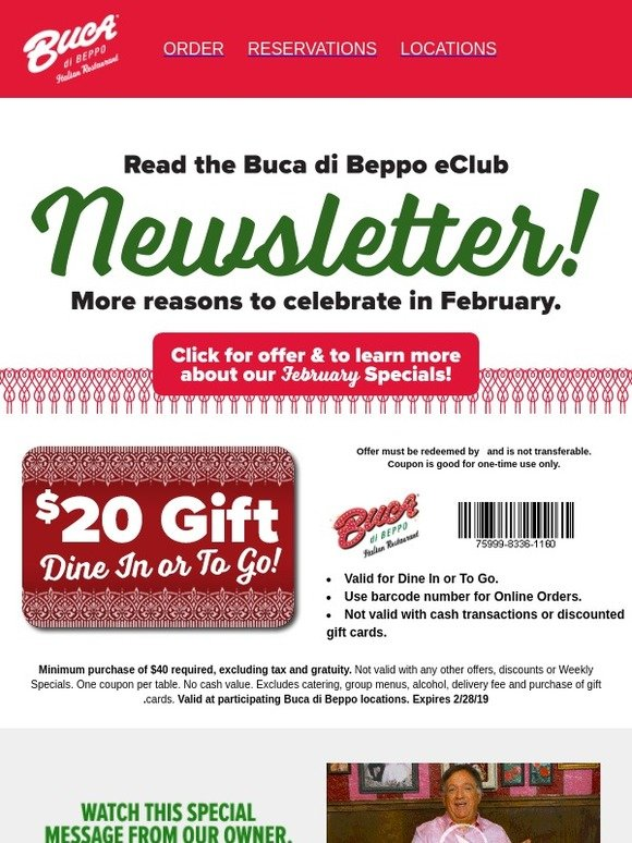 graphic about Buca Di Beppo Coupons Printable known as Buca Di Beppo: Retain the services of Your $20 For Countrywide Pizza Working day! Milled