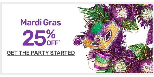 Shop twenty five percent off Mardi Gras items