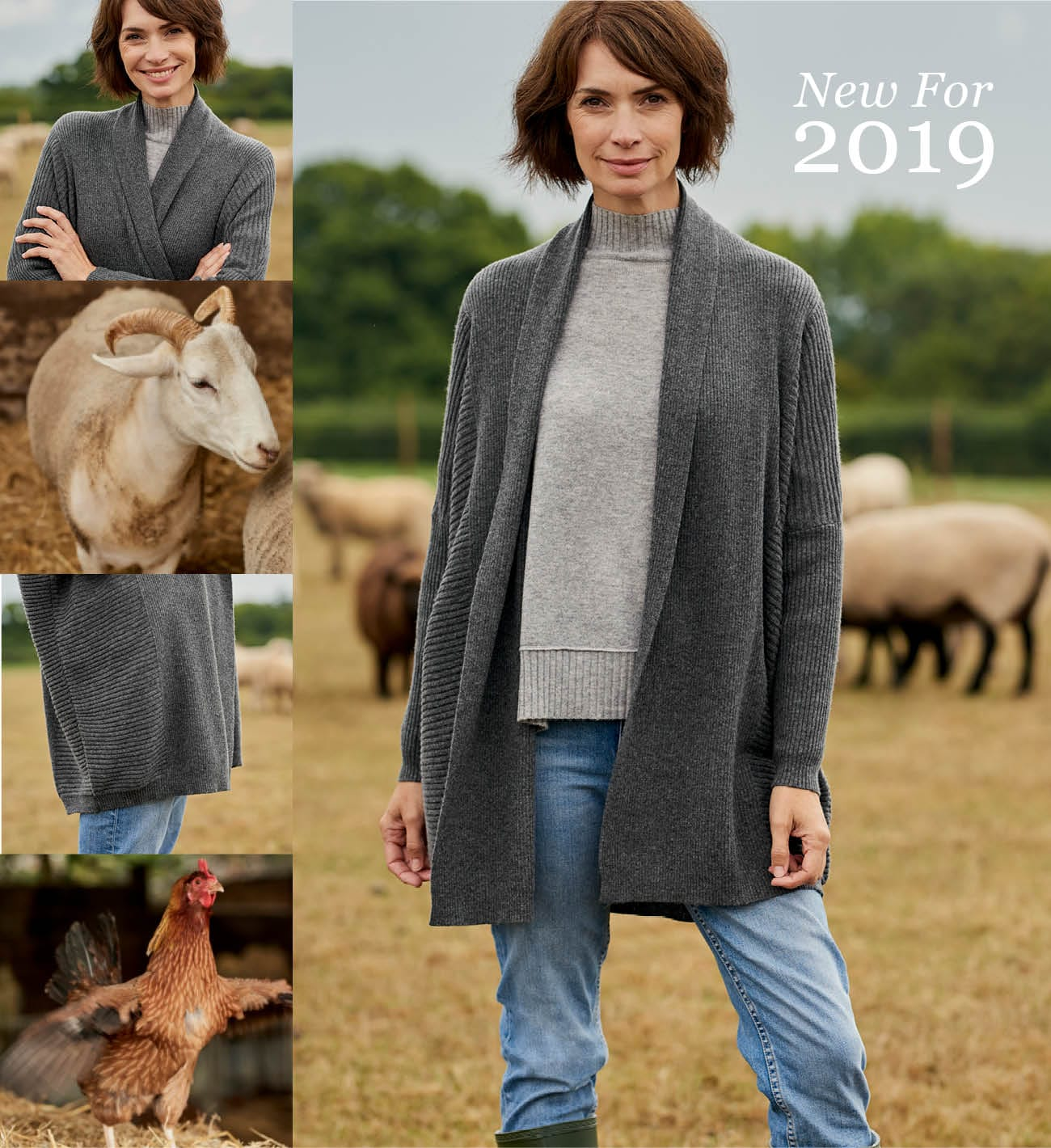 Womens New Cashmere and Merino Relaxed Rib Cardigan in Charcoal