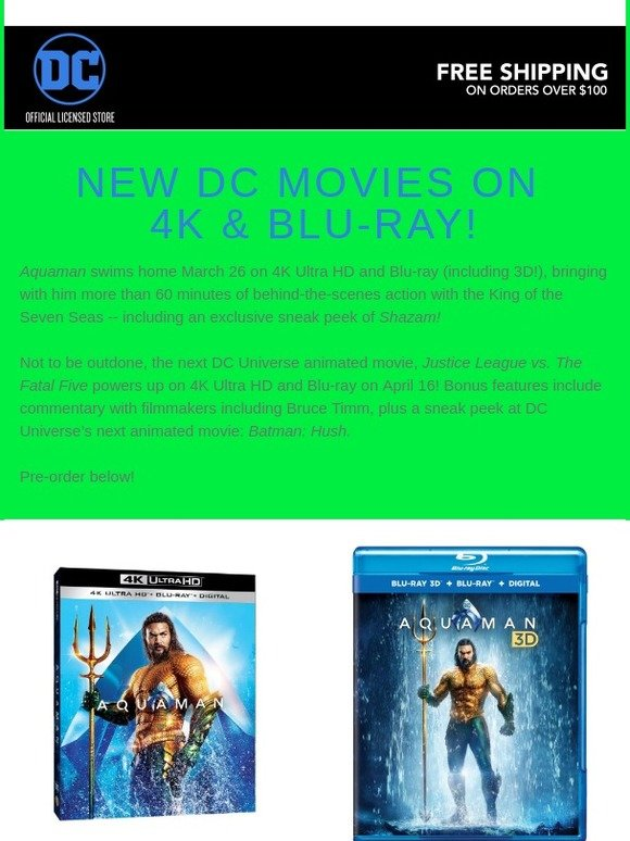 DC Entertainment: Pre-order Aquaman on 4K and Blu-ray! | Milled